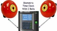 Biometric clock with bells