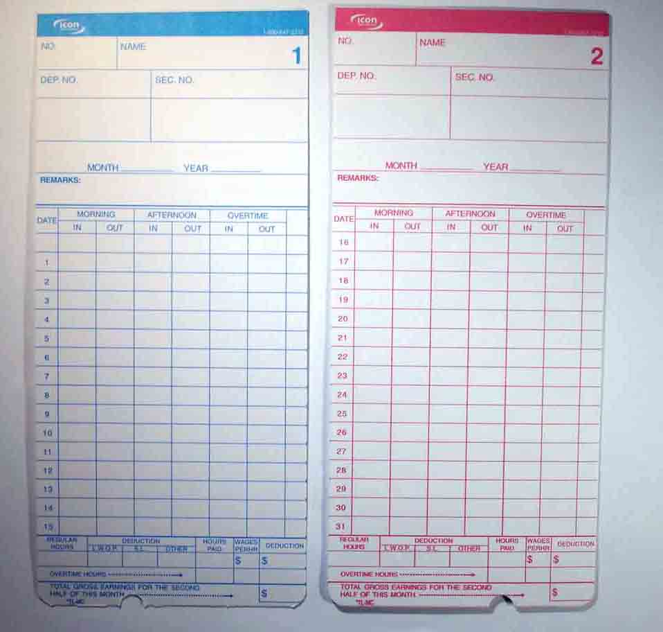 Employee Time Clocks Tl300 Monthly Cards Tl300 Monthly